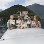 Bride on boat Lake Como near Villa Balbianello