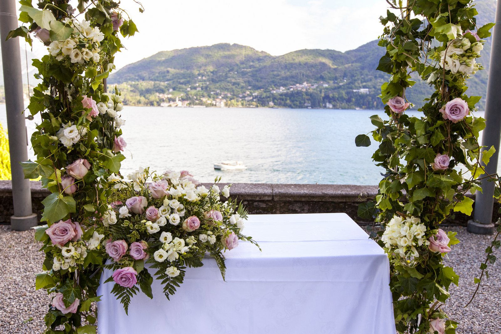 flower arch for wedding ceremony in villa carlotta