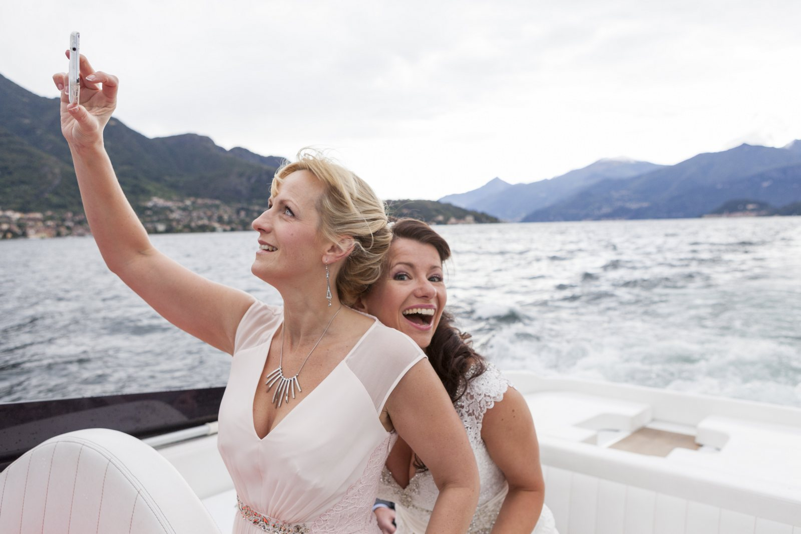 bride and bridesmaid in villa balbianello