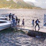 Boat arrives to Villa Corte del Lago