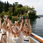 bride and bridesmaids in front of Villa Balbianello