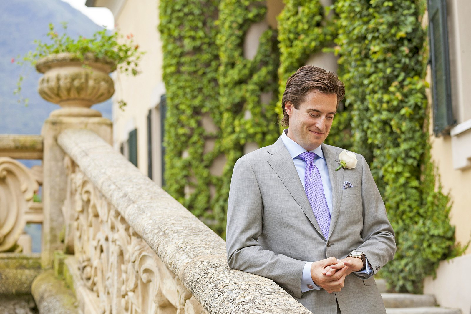 american groom in villa balbianello for civil wedding
