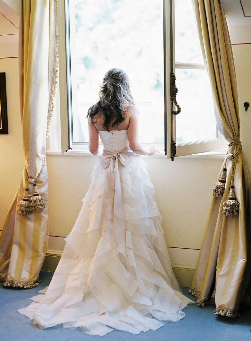 Vera Wang wedding dress lake como