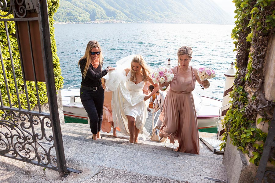 Lauretta and Dominic's Wedding - Bride boat Villa Balbianello
