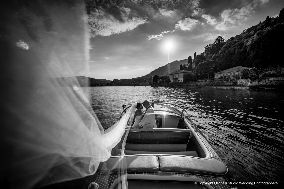 Wedding boat on Lake Como to Villa Erba