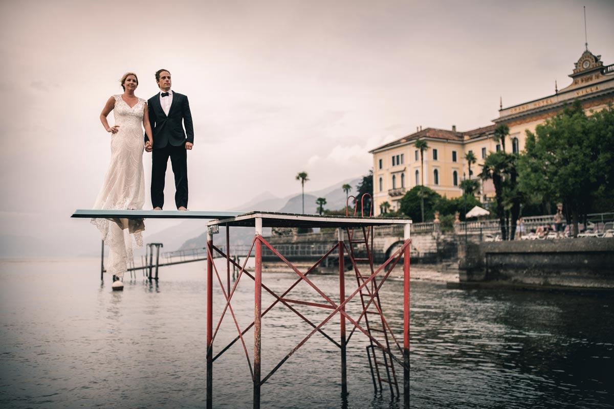 Bride and Groom shooting Lake Como