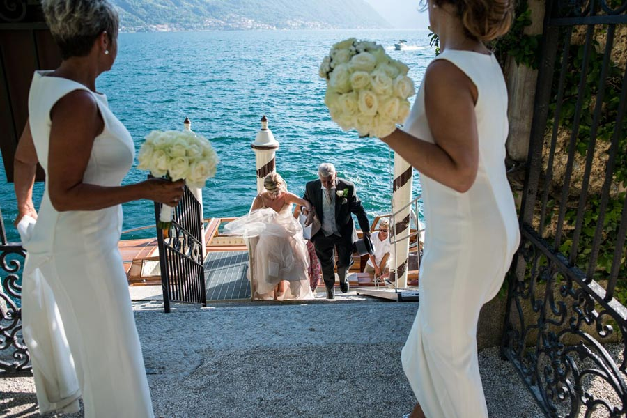 Wedding boat in Villa Balbianello Lake Como