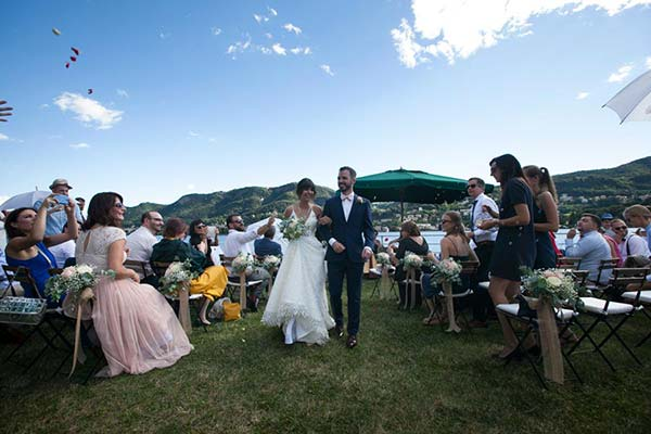 Bride and groom on Lake Como in Villa Geno Natasha Mark